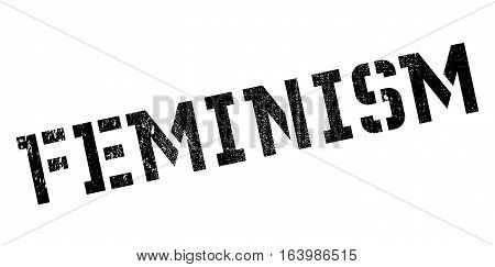 Feminism rubber stamp. Grunge design with dust scratches. Effects can be easily removed for a clean, crisp look. Color is easily changed.