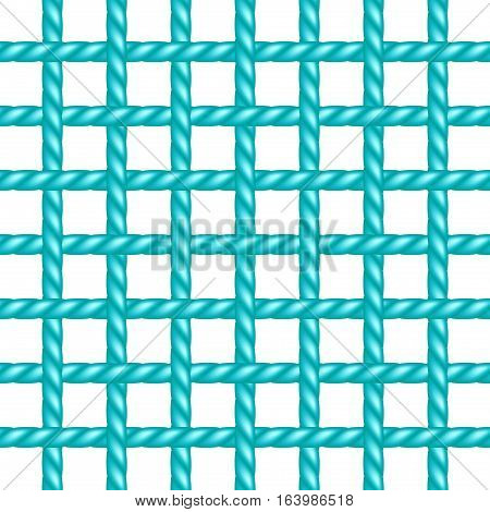Net of rope in turquoise design on white background