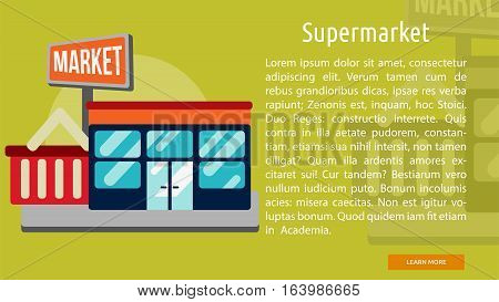 Supermarket Conceptual Banner | Great flat icons with style long shadow icon and use for building, construction, public places, station, store, and much more.