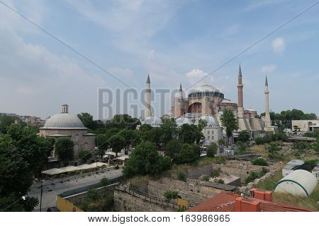 View at 1.500 Years old Hagia Sophia, Christian Orthodox Patriarchal Basilica, Imperial Mosque and now a Museum in Istanbul, Turkey
