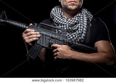 Soldier representing private military company mercenary industry of gun for hire. These commandoes are contractors working as bodyguards or combat troops. poster
