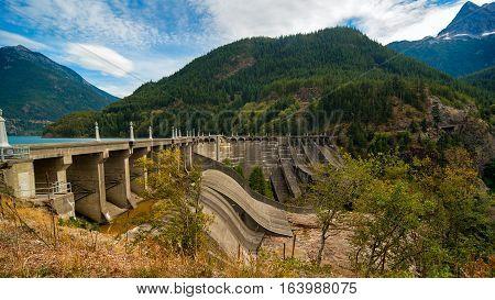 Diablo Dam with Diablo Lake behind it in North Cascades National Park Washington