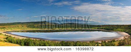 Lake in african savanna, Queen Elizabeth N.P., Uganda