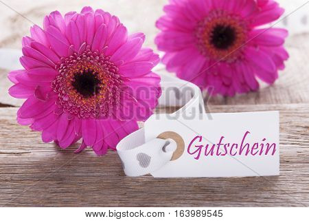 Label With German Text Gutschein Means Voucher. Pink Spring Gerbera Blossom. Vintage, Rutic Or Aged Wooden Background. Card For Spring Greetings.