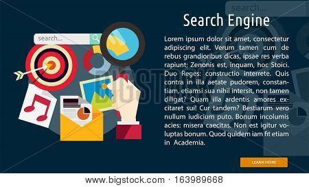 Search Engine Conceptual Banner | Great flat icons with style long shadow icon and use for search engine optimization, development , marketing, advertising and much more.