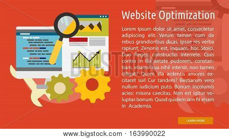 Website Optimization Conceptual Banner | Great flat icons with style long shadow icon and use for search engine optimization, development , marketing, advertising and much more.