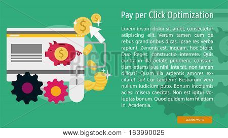Pay Per Click Optimization Conceptual Banner | Great flat icons with style long shadow icon and use for search engine optimization, development , marketing, advertising and much more.
