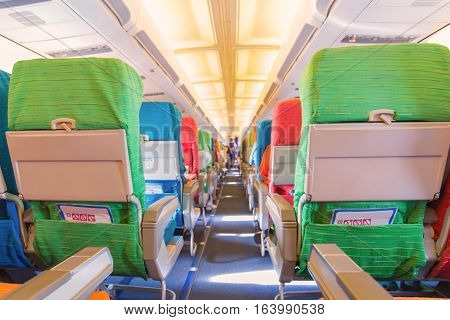 Airplane Seat With In Cabin Of Huge Aircraft