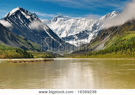 Mountain landscape with lake and blue sky