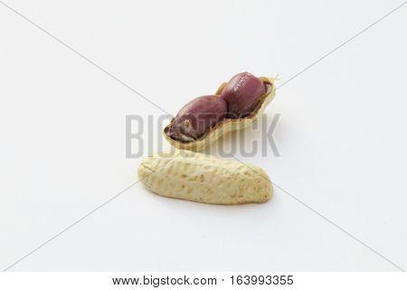 Peanuts isolated on white background. Peanuts seeds