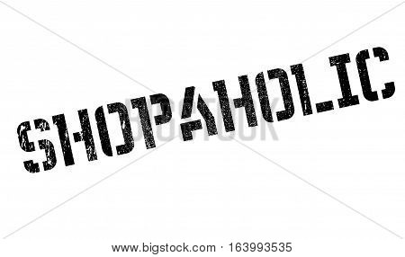 Shopaholic rubber stamp. Grunge design with dust scratches. Effects can be easily removed for a clean, crisp look. Color is easily changed.