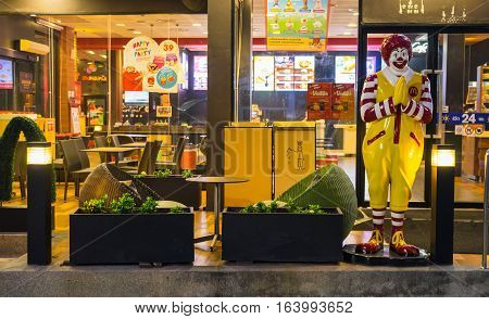 BangkokThailand - Dec 28 2016 : Ronald-Mcdonald at McDonald's restaurant