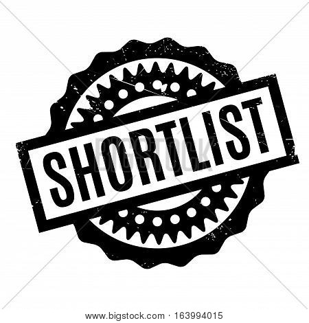 Shortlist rubber stamp. Grunge design with dust scratches. Effects can be easily removed for a clean, crisp look. Color is easily changed.