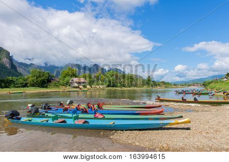 Long Tail Boats On Song River, Vang Vieng, Laos
