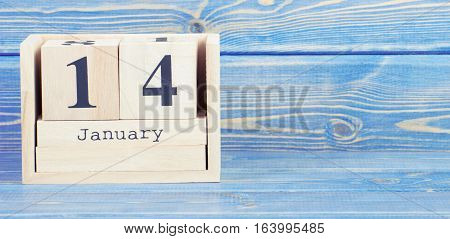 Vintage Photo, January 14Th. Date Of 14 January On Wooden Cube Calendar