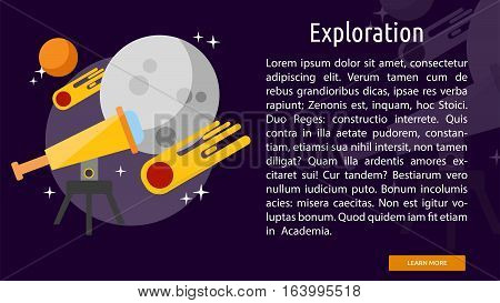 Exploration Conceptual Banner   Great flat illustration concept icon and use for space, universe, galaxy, astrology and much more.