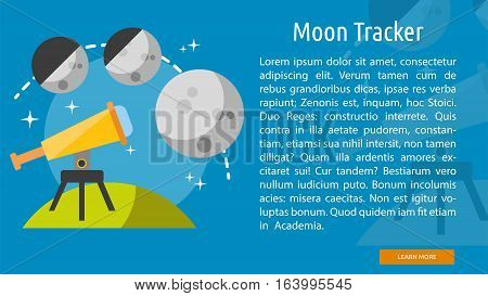 Moon Tracker Conceptual Banner | Great flat illustration concept icon and use for space, universe, galaxy, astrology and much more.