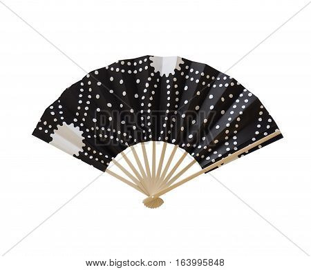Black color and white graphic Japanese paper fan.
