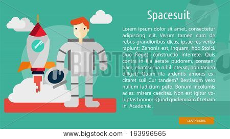 Spacesuit Conceptual Banner | Great flat illustration concept icon and use for space, universe, galaxy, astrology and much more.