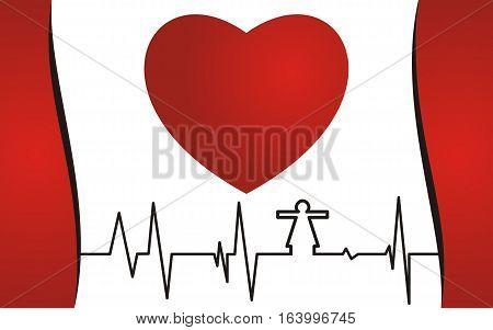 health concept. Cardiogram and red heart. vector