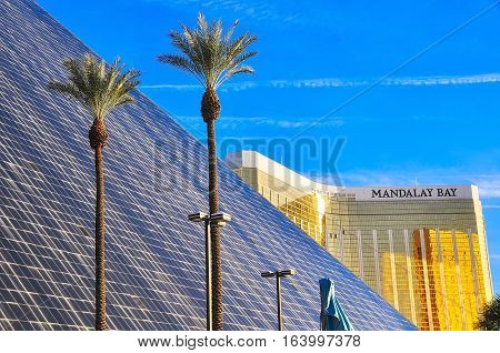 VEGAS NEVADA USA - January 11th 2016: Mandalay bay hotel in background and Luxor hotel in foreground