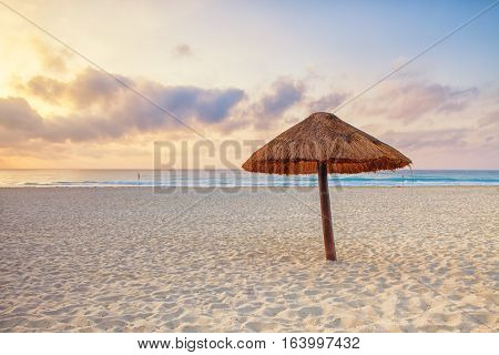 Early morning light on a Cancun beach in Mexico