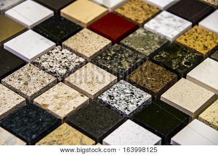 Close up of a slab of counter tops material, for your kitchen counter or your bath counter with interesting home counter design for your home.
