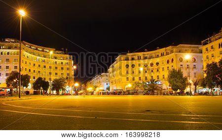 View of Aristotelous Square at night. Thessaloniki Greece