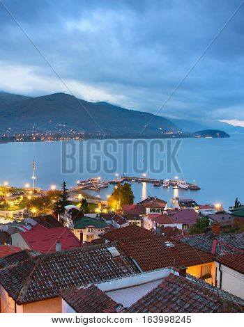 View Ohrid city at colorful twilight. Macedonia