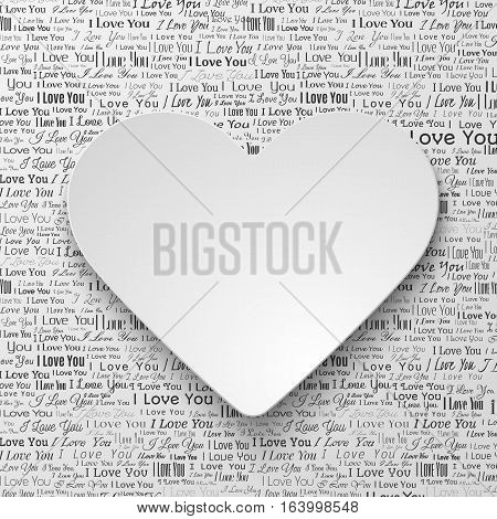 White paper hearts Valentines day card on white background with newspaper texture
