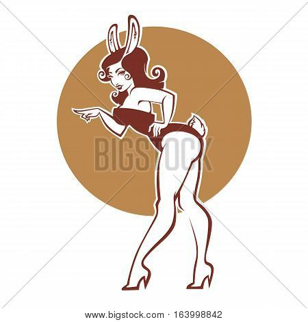 Pinup rabbit vector illustration in retro style girl in bunny costume