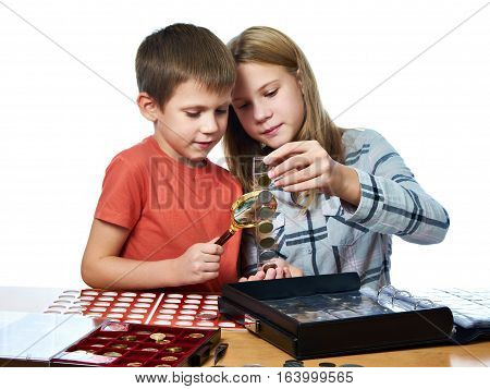 Boy And Girl Are Considering Coin Collection Isolated