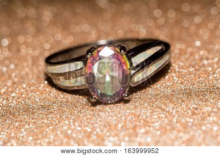 Rainbow Topaz Ring