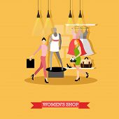 Vector illustration of womens shop in flat style. Women shopping, mannequin in casual summer clothes, dresses on hangers. Fashion clothing store, boutique interior. poster