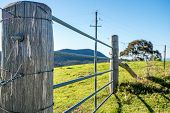 Livestock fence post and paddock commonly seen in the rural countryside. poster