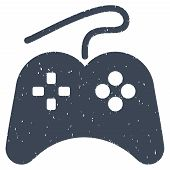Gamepad grainy textured icon for overlay watermark stamps. Flat symbol with unclean texture. Dotted vector smooth blue ink rubber seal stamp with grunge design on a white background. poster