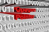 Opaque pointer in the form of binary code, 3D illustration poster