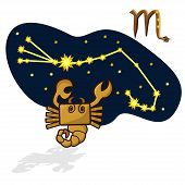 Cartoon Zodiac signs. Vector illustration of scorpion in the form of a rectangle. A schematic arrangement of stars in the constellation Scorpio poster