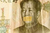 Portrait of the communist revolutionary Mao Zedong with mouth closed on the banknote of Chinese Yuan, as a symbol of the instability of the modern economy poster