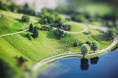 Aerial view of Olympiapark and Munich from Olympiaturm (Olympic Tower). Munich Bavaria Germany. Miniature tilt shift lens effect. poster