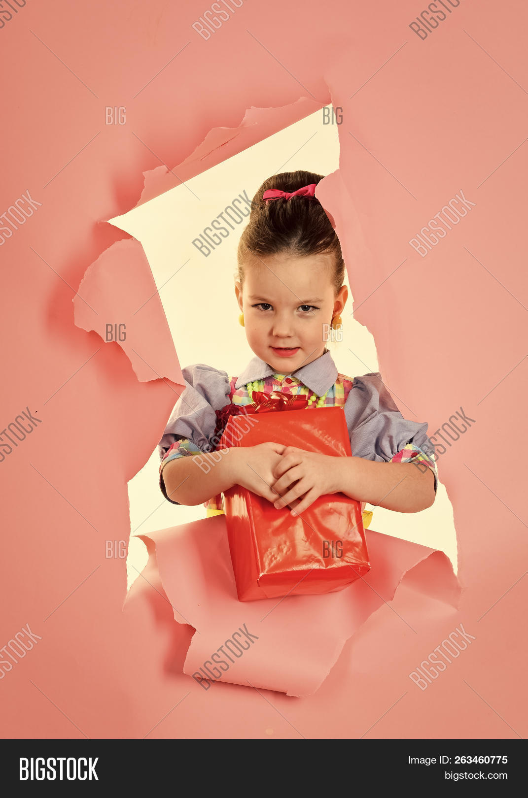 ba6290a34 Child girl with present pack, cyber monday. Birthday and christmas.  Childhood and happiness, gift box. Small girl with shopping package, black  friday.