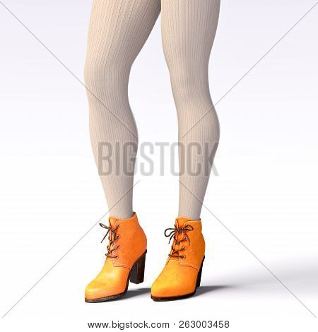 Beautiful Female Legs Woolen Leggings And Half-beads. Sexy Slim Female Legs Boots. Autumn-spring Col