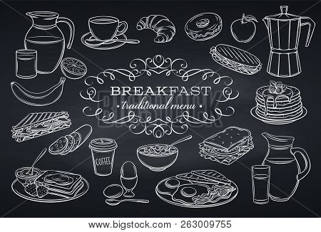Hand Drawn Set Breakfast Icons On Chalkboard. Jug Of Milk, Coffee Pot, Cup, Juice, Sandwich And Frie