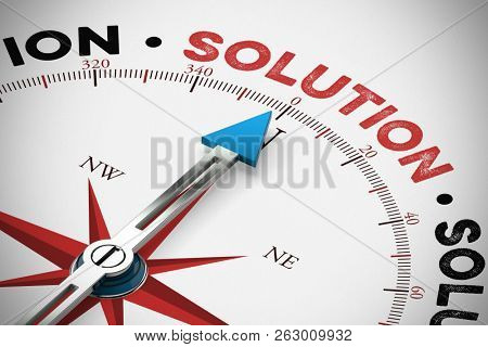 Arrow from a compass points to the solution / solution of a problem (3D Rendering)