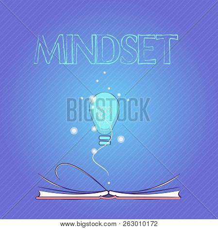 Word Writing Text Mindset. Business Concept For Established Set Of Attitudes Held By Someone Positiv