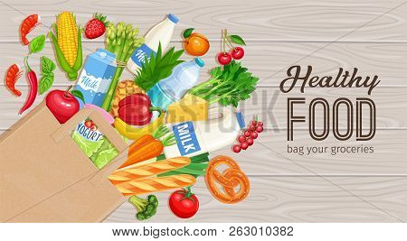 Paper Bag Of Groceries On A Wooden Background, Top View. Concept Of Healthy Food With Dairy Products