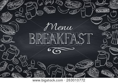 Breakfast And Brunch Vector Illustration. Dairy Product Icons. Engraving Yogurt, Milk, Cottage Chees