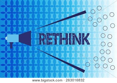 Word Writing Text Rethink. Business Concept For Think Again Twice From Another Perspective Reconside