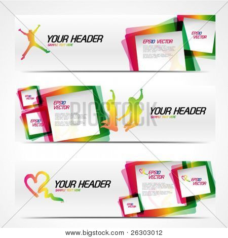 Abstract modern website banner set. EPS 10 vector