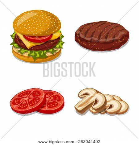 Isolated Object Of Burger And Sandwich Logo. Set Of Burger And Slice Stock Vector Illustration.